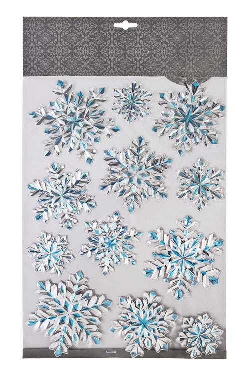 Набор наклеек Сияние снежинокНаклейки и аппликации<br>41*29см, ПВХ, серебр.-голуб.<br>