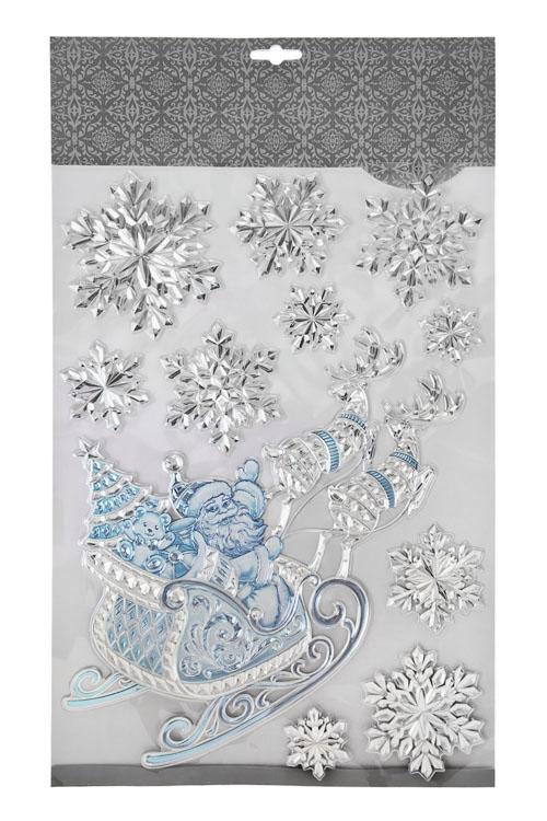 Набор наклеек новогодних Волшебные сани Деда Мороза и снежинкиНаклейки и аппликации<br>41*29см, ПВХ, серебр.-голубой<br>