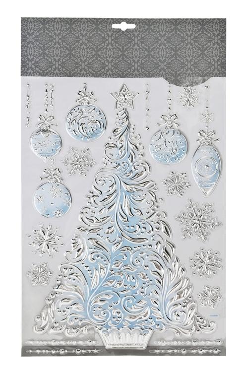 Набор наклеек Новогодняя елочка с игрушками и снежинкиИнтерьер<br>41*29см, ПВХ, серебр.-голуб.<br>