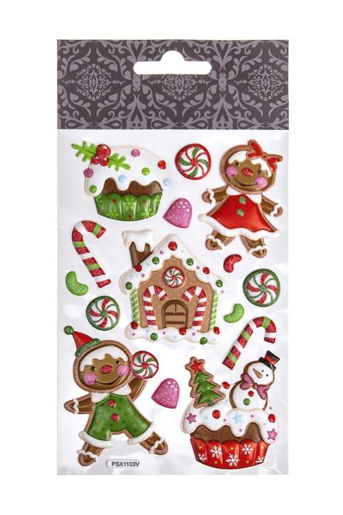 Набор наклеек новогодних Имбирное печеньеНаклейки и аппликации<br>19*10.4см, ПВХ, разноцв.<br>