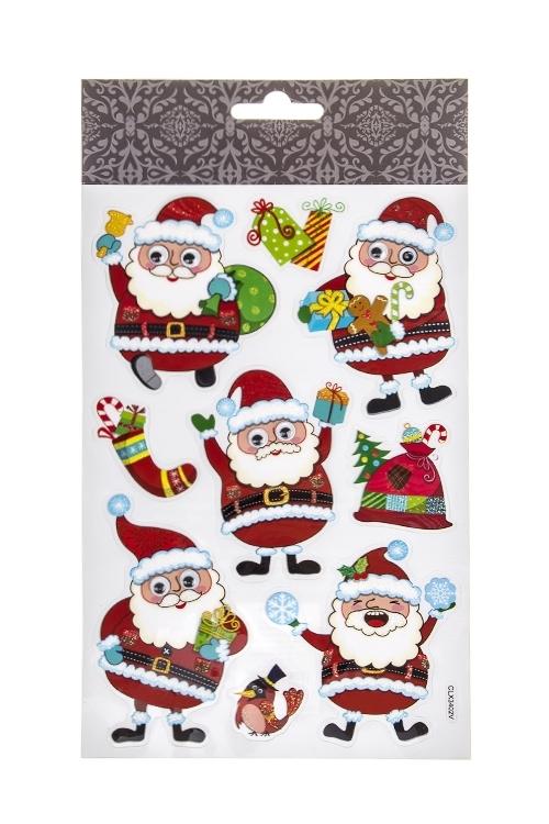 Набор наклеек новогодних Веселые Деды МорозыНаклейки и аппликации<br>25*14.5см, ПВХ, разноцв.<br>