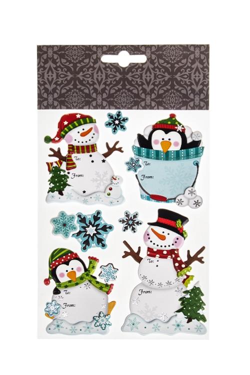 Набор наклеек новогодних СнеговикиИнтерьер<br>22.7*13см, ПВХ, бумага, разноцв.<br>