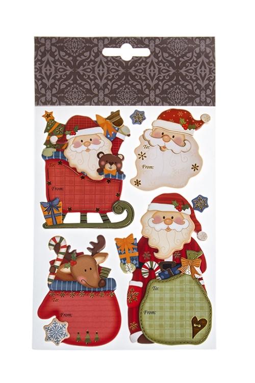 Набор наклеек новогодних Деды Морозы и подаркиНаклейки и аппликации<br>22.7*13см, ПВХ, бумага, разноцв.<br>