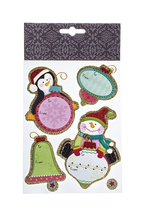 Набор наклеек новогодних Записки от пингвина и снеговикаНаклейки и аппликации<br>22.7*13см, бумага, разноцв.<br>