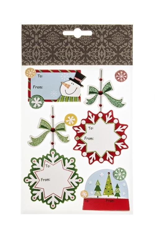 Набор наклеек новогодних Записки на снежинкахНаклейки и аппликации<br>22.7*13см, бумага, разноцв.<br>