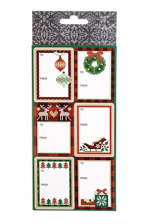 Набор наклеек новогодних Праздничные атрибутыПодарки на Новый год 2018<br>10*20см, ПВХ<br>