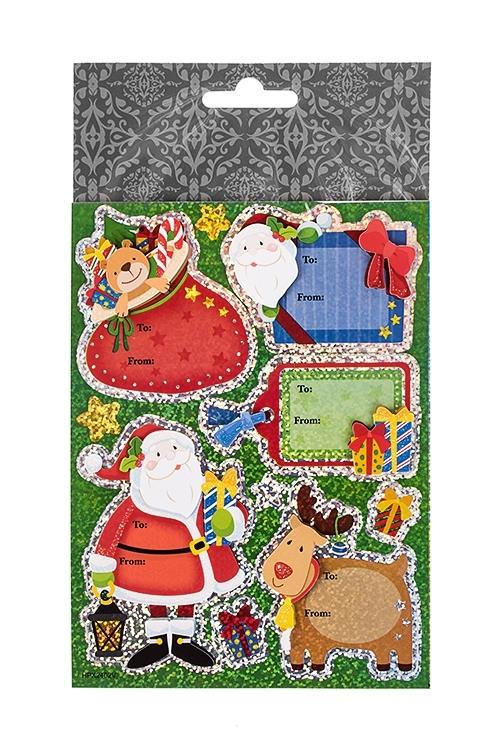Набор наклеек новогодних Дед Мороз с подаркамиПодарки на Новый год 2018<br>13*18см, ПВХ<br>