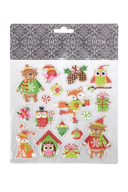 Набор наклеек новогодних Веселые животныеНовогодние наклейки и аппликации<br>18*17см, ПВХ<br>