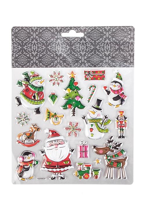 Набор наклеек новогодних Дед Мороз со снеговикамиНовогодние наклейки и аппликации<br>18*17см, ПВХ<br>