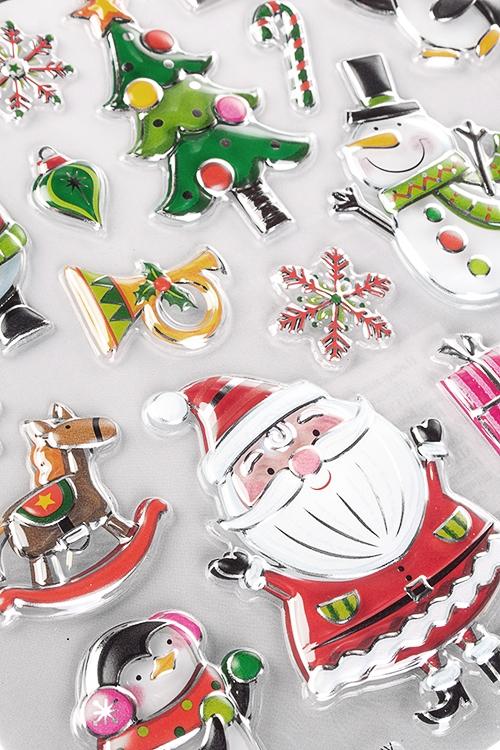"""Набор наклеек новогодних """"Дед Мороз со снеговиками"""" от Красный куб"""
