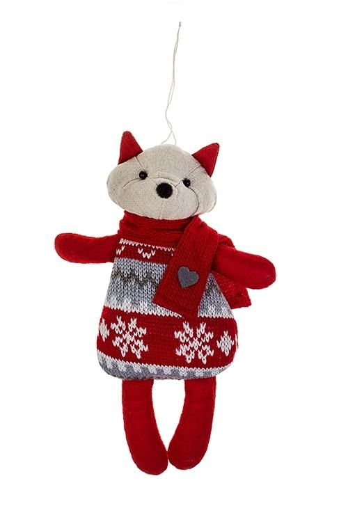 Игрушка мягконабивная Лисенок свитеркеПлюшевые игрушки<br>Выс=23см, текстиль, крем.-красная, подвесная (2 вида)<br>