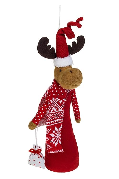 Игрушка мягконабивная Лосик в колпаке с сумочкойПлюшевые игрушки<br>Выс=28см, текстиль, красно-белая, подвесная<br>