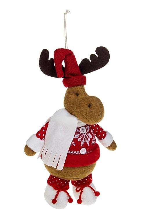 Игрушка мягконабивная Лосик в колпакеИгрушки и куклы<br>Выс=23см, текстиль, красно-белая, подвесная (2 вида)<br>