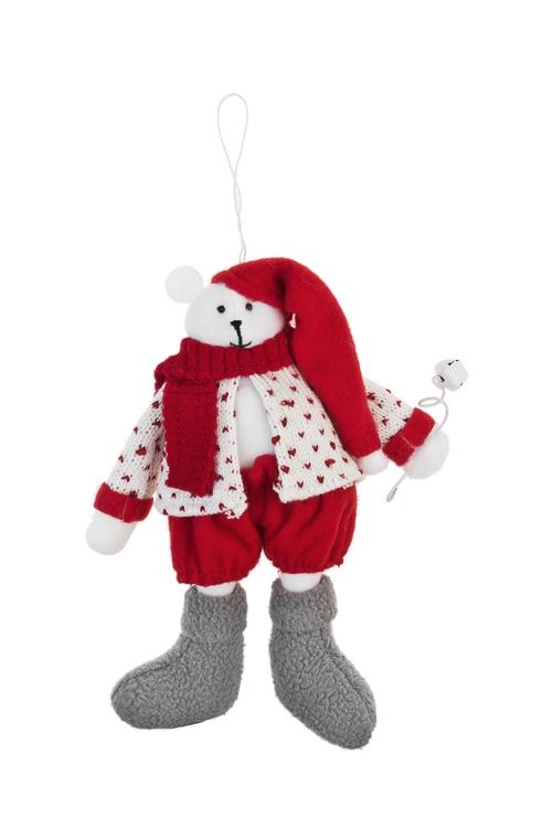 Игрушка мягкая Белый мишкаНовогодние сувениры<br>Выс=20см, текстиль, красно-белая, подвесная<br>