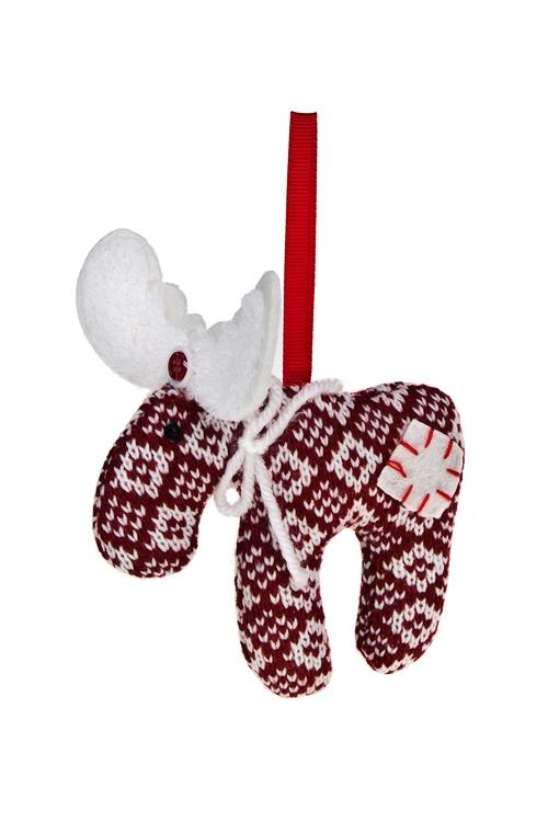Игрушка мягкая ОленьНовогодние сувениры<br>8*12см, текстиль, красно-белая, подвесная<br>