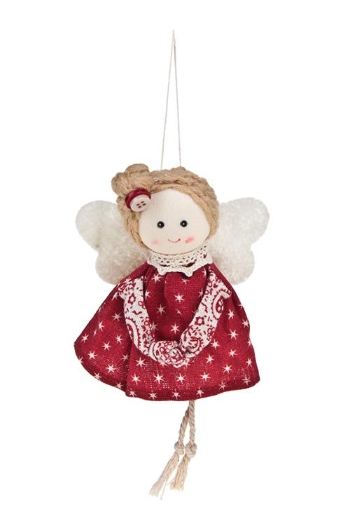 Кукла декоративная Улыбчивая малышкаЕлочные игрушки<br>Выс=10см, текстиль, красно-крем., подвесная (2 вида)<br>