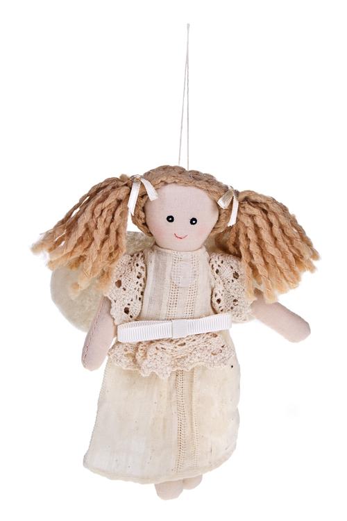 Кукла мягконабивная Малышка с хвостикамиЕлочные игрушки<br>Выс=16см, тестиль, крем., подвесная<br>