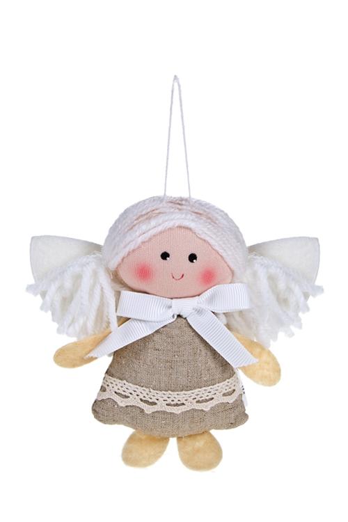Кукла мягконабивная Снежный ангелочекЕлочные игрушки<br>Выс=9см, текстиль, крем., подвесная (2 вида)<br>