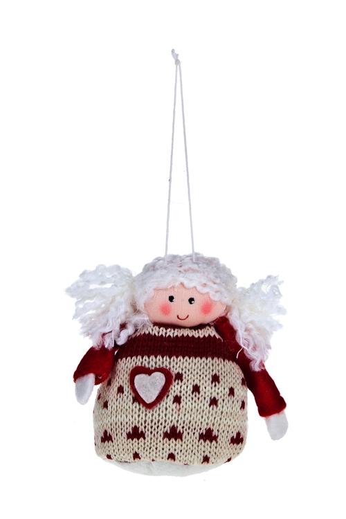 Кукла мягконабивная Смешной ангелочекЕлочные игрушки<br>Выс=8см, текстиль, красно-крем., подвесная<br>
