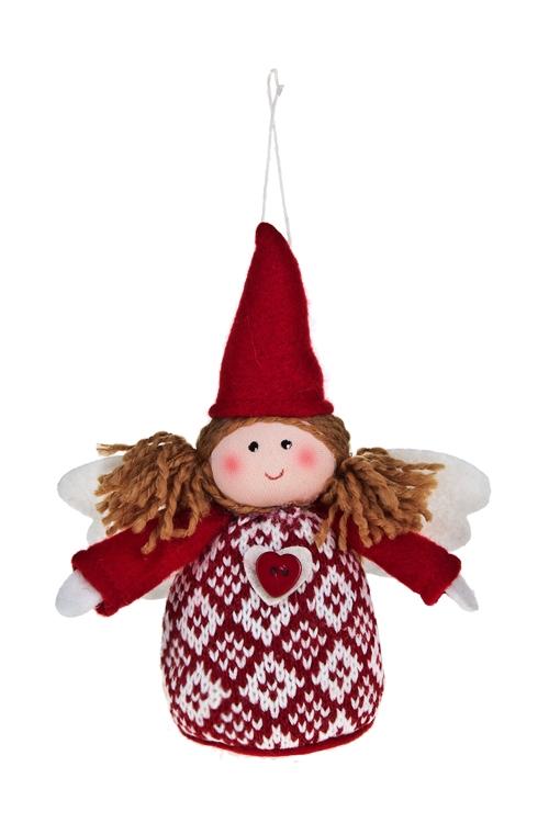 Кукла мягконабивная Милый ангелЕлочные игрушки<br>Выс=12см, текстиль, крем.-красная, подвесная<br>