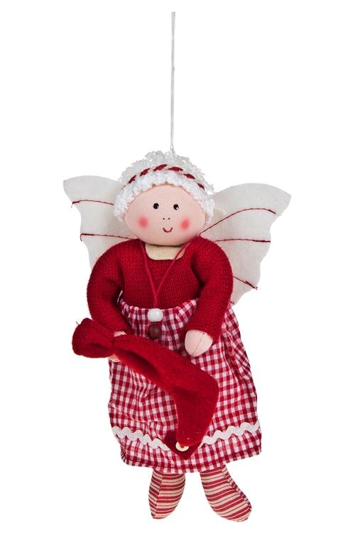 Кукла мягконабивная Милый ангелЕлочные игрушки<br>Выс=17см, текстиль, крем.-красная, подвесная<br>