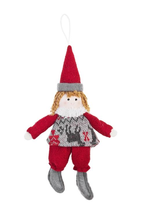 Кукла мягконабивная Милый гномикИгрушки и куклы<br>Выс=20см, текстиль, серо-красная, подвесная (2 вида)<br>