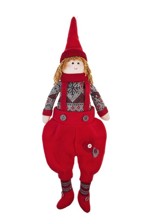 Кукла мягконабивная Милый гномикИгрушки-куклы<br>Выс=40см, текстиль, красно-серая, подвесная (2 вида)<br>