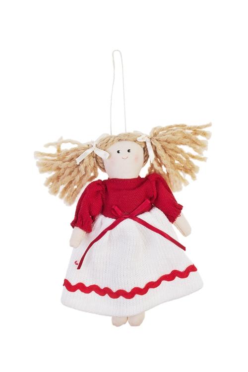 Кукла мягконабивная Малышка в платьишкеИгрушки и куклы<br>Выс=17см, текстиль, красно-белая, подвесная (2 вида)<br>