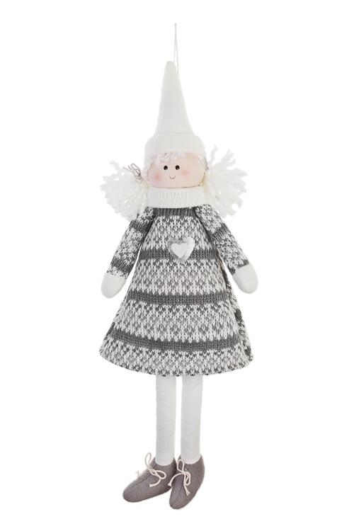 Кукла мягконабивная Милая девочкаНовогодние сувениры<br>Выс=38см, текстиль, серо-белая, подвесная<br>