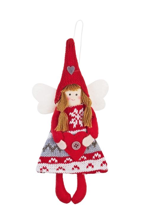 Кукла мягконабивная Фея с сердцемИгрушки-куклы<br>Выс=21см, текстиль, серо-красная, подвесная<br>