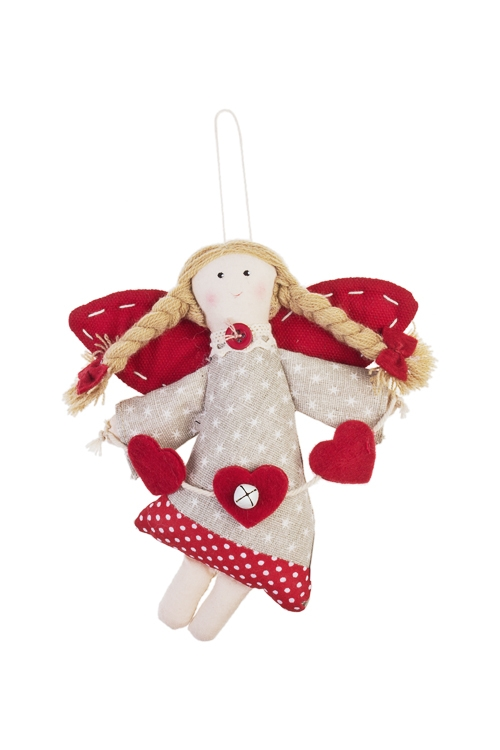 Кукла мягконабивная Ангелочек с сердечкамиИгрушки и куклы<br>Выс=18см, текстиль, красно-серая, подвесная (2 вида)<br>