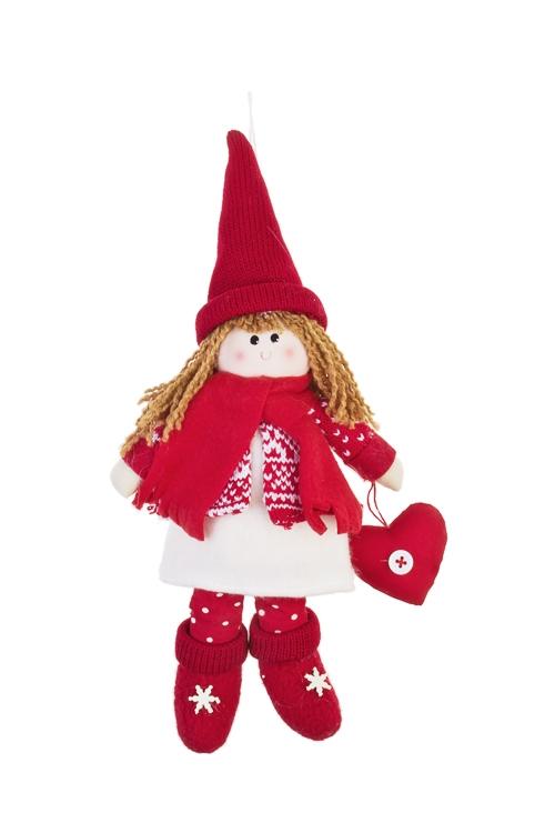 Кукла мягконабивная Девочка с сердечкомНовогодние сувениры<br>Выс=25см, текстиль, красно-белая, подвесная (2 вида)<br>