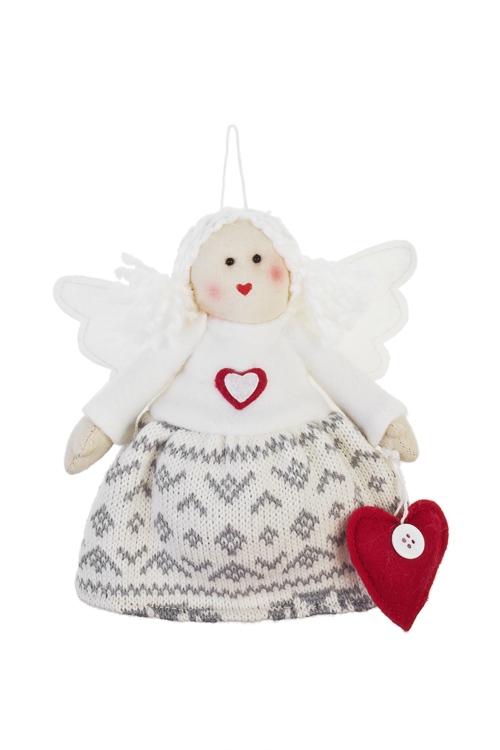 Кукла мягконабивная Ангелочек с сердечкомИгрушки-куклы<br>Выс=17см, текстиль, бело-серая, подвесная<br>