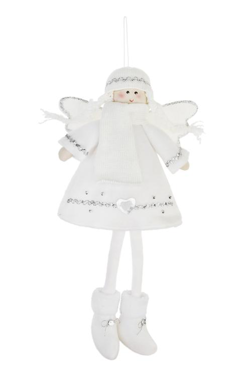 Кукла мягконабивная Снежный ангелНовогодние сувениры<br>Выс=36см, текстиль, белая, подвесная<br>