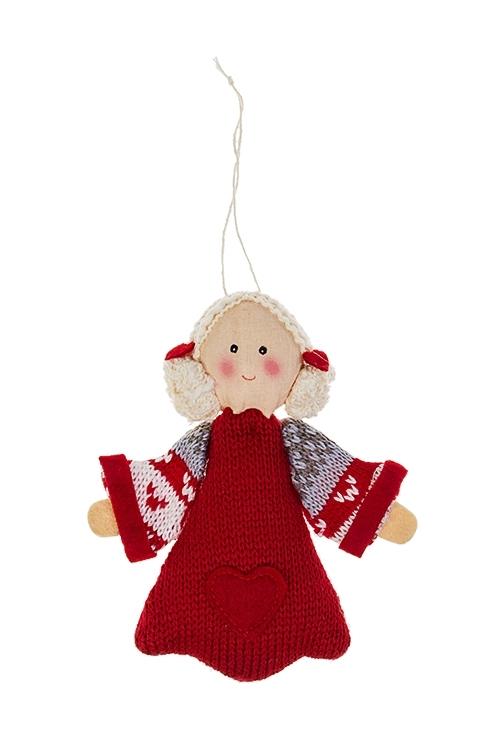 Кукла мягконабивная Девочка в платьеТекстильные игрушки<br>Выс=13см, текстиль, крем.-красная, подвесная (2 вида)<br>