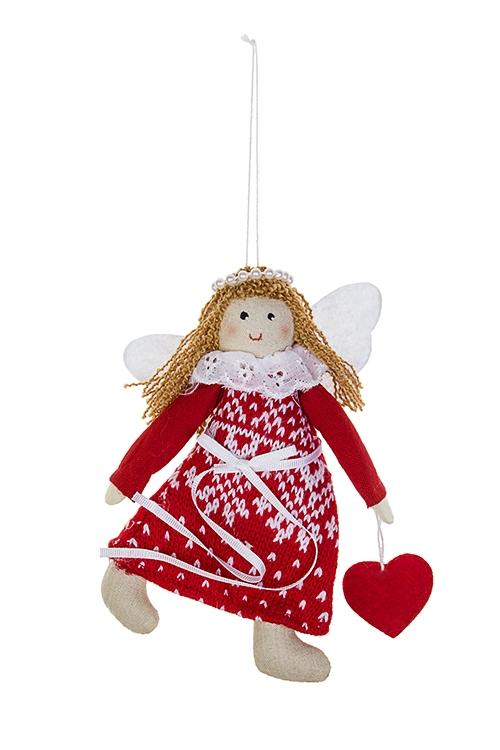 Кукла мягконабивная Счастливый ангелокИгрушки и куклы<br>Выс=15см, текстиль, бело-красная, подвесная<br>