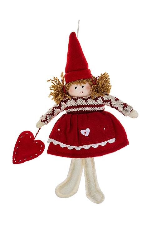 Кукла мягконабивная Малышка в свитеркеИгрушки и куклы<br>Выс=20см, текстиль, крем.-красная, подвесная (2 вида)<br>