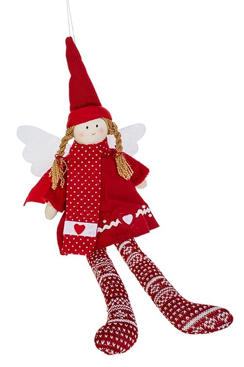 Кукла мягконабивная Ангел в колпакеИгрушки и куклы<br>Выс=33см, текстиль, красно-белая, подвесная<br>