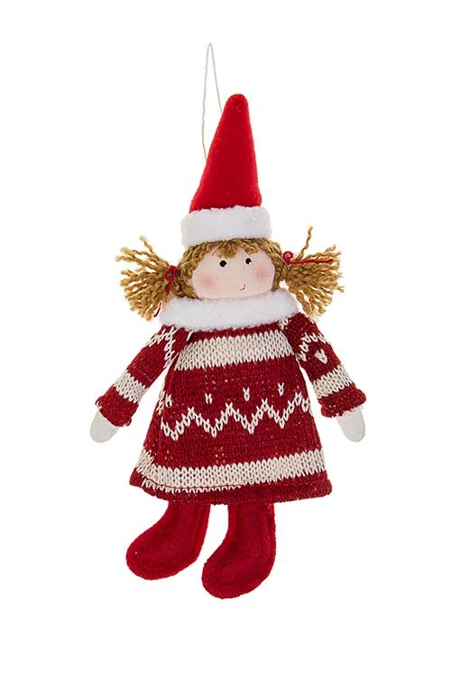 Кукла мягкая Малышка в норвежском платьеИгрушки и куклы<br>Выс=20см, текстиль, крем.-красная, подвесная (2 вида)<br>