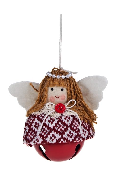 Украшение декоративное Ангелочек в свитереЕлочные игрушки<br>Выс=10см, текстиль, металл, подвесное (2 цвета)<br>