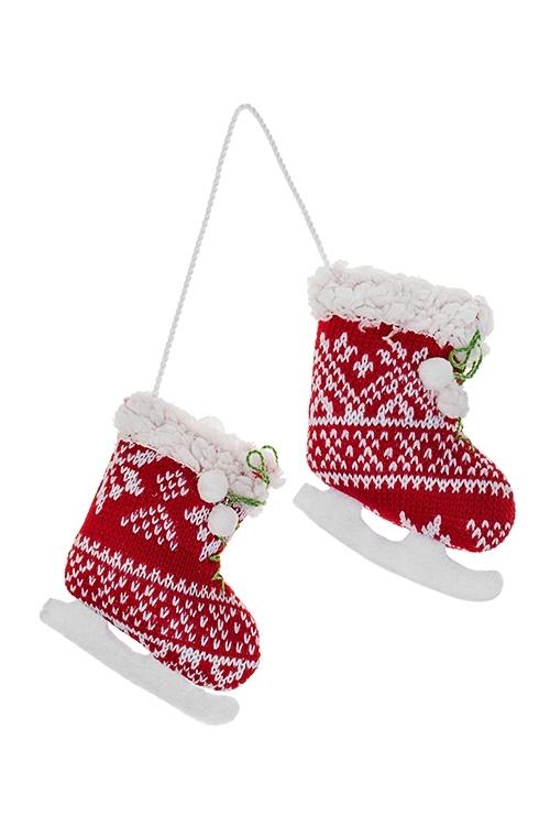 Украшение декоративное Норвежские конькиТекстильные игрушки<br>Выс=17см, текстиль, красно-белое, подвесное<br>