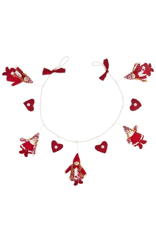 Гирлянда декоративная Девочки и сердцаСувениры и упаковка<br>Дл=86см, текстиль, красно-белая<br>