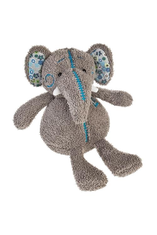 Игрушка мягконабивная Милый слоникПлюшевые игрушки<br>Выс=18см, текстиль, темно-серая<br>