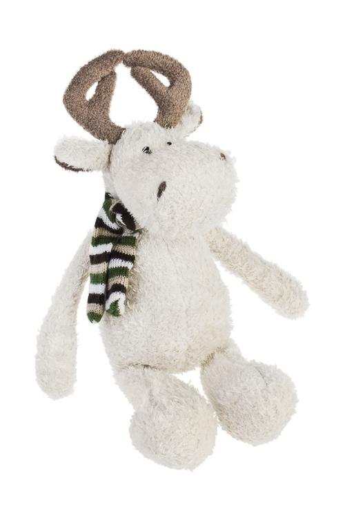 Игрушка мягконабивная Забавный олененок в шарфикеПлюшевые игрушки<br>Выс=28см, текстиль, крем.-коричн.<br>