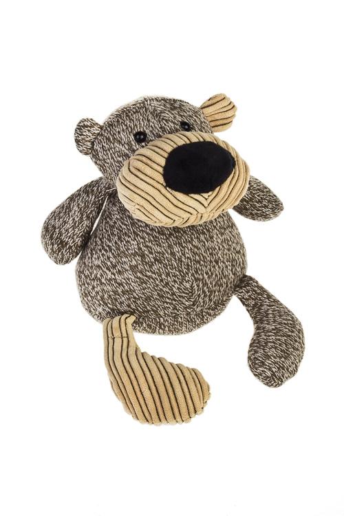 Игрушка мягконабивная Вязанный мишуткаПлюшевые игрушки<br>Выс=19см, текстиль, коричн.<br>