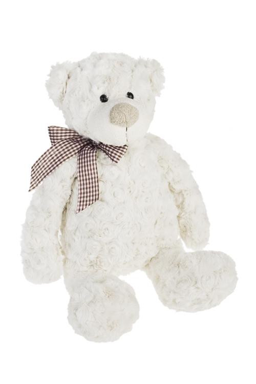 Игрушка мягконабивная Милый мишенька с бантомИгрушки и куклы<br>Выс=27см, текстиль, светло-крем.<br>