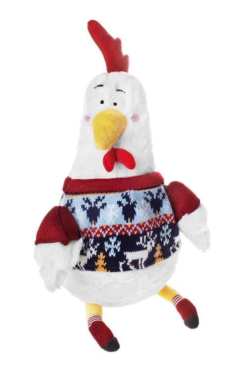Игрушка мягконабивная Петушок в свитереПлюшевые игрушки<br>Выс=35см, текстиль, бело-красная<br>