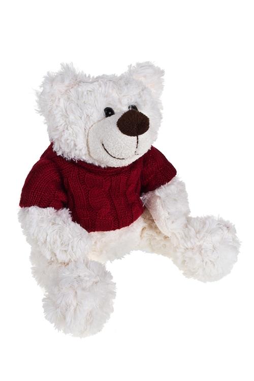 Игрушка мягкая Мишуля в свитереМягкие игрушки<br>Выс=28см, текстиль, крем.-красная<br>