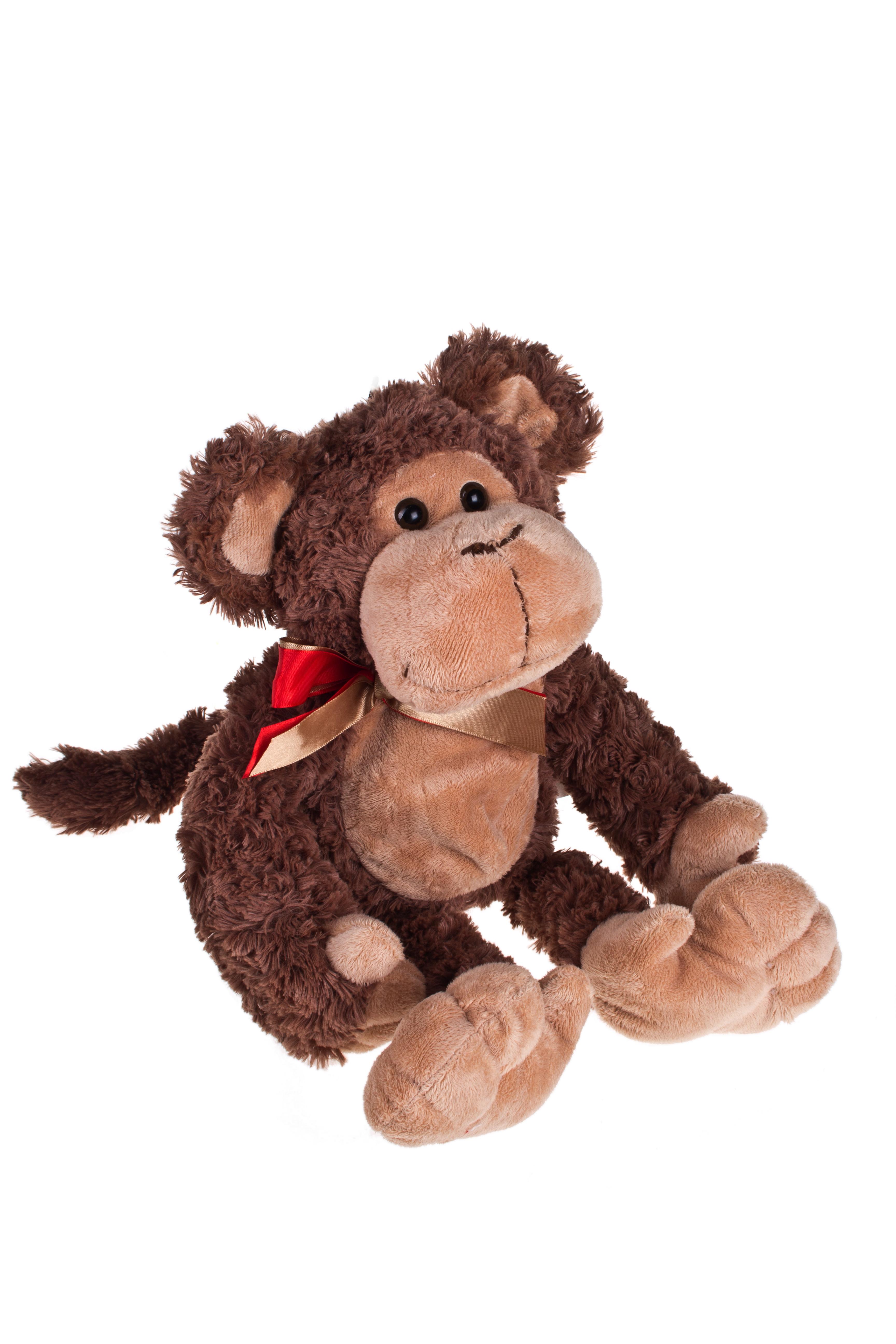 Игрушка мягкая Зимняя обезьянкаМягкие игрушки<br>Дл=40см, текстиль, шоколадно-красная, на молнии, подвесная<br>