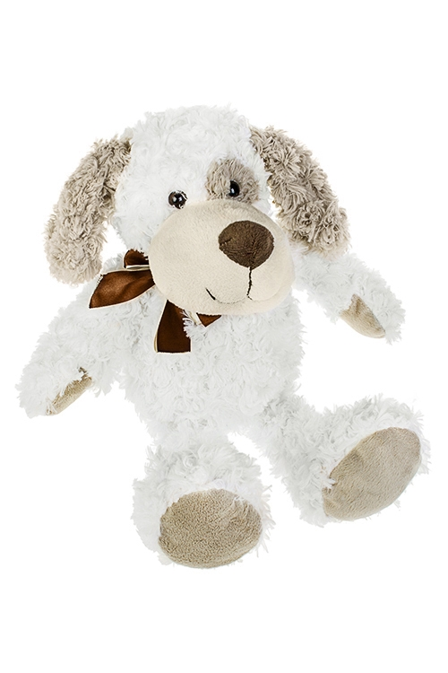 Игрушка мягкая СобачкаНовогодние сувениры<br>Дл=40см, текстиль, бело-бежевая, на молнии, подвесная<br>